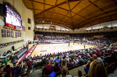 wide shot of basketball game in EKU's alumni coliseum
